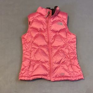 The North Face Pink Puffer Vest Girls sz Med
